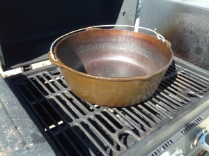 Put a pot on the grill over medium heat