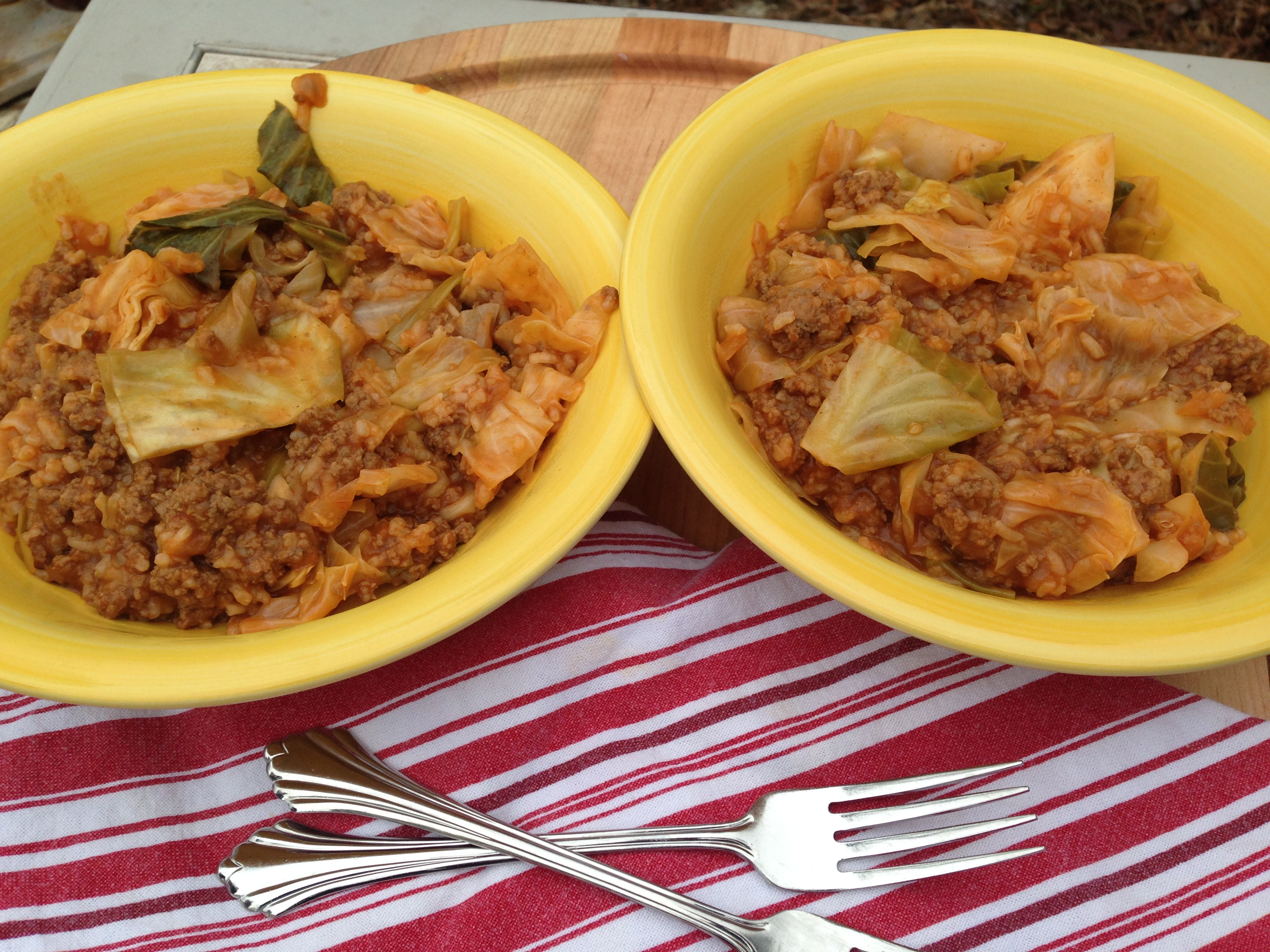 Deconstructed Cabbage Rolls in a Dutch Oven